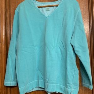 Eddie Bauer Sea-foam Green V-neck Sweatshirt Sz L